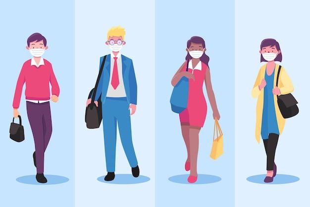 Vista frontale persone che tornano a lavorare indossando la maschera per il viso Vettore gratuito