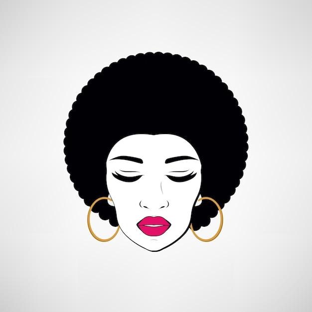 Front view portrait of a black woman face Premium Vector