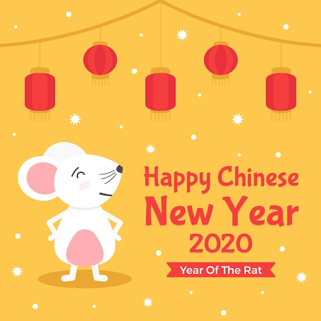 Front view proud mouse and new year 2020 chinese Free Vector