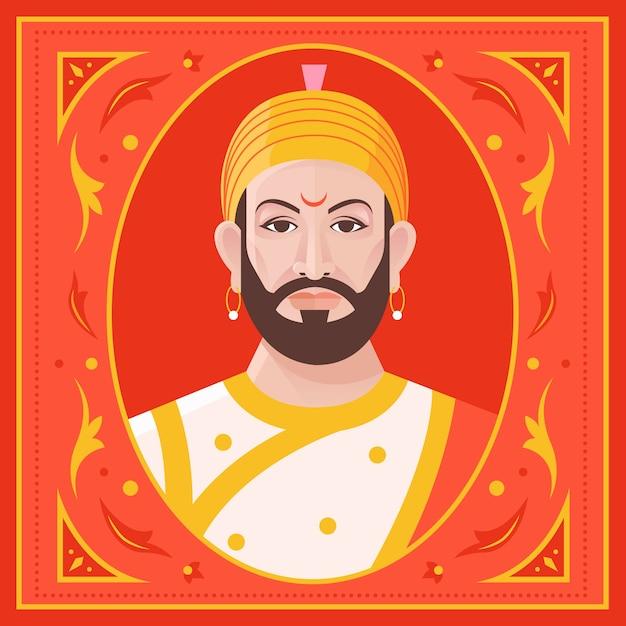 Illustrazione di shivaji maharaj vista frontale Vettore gratuito
