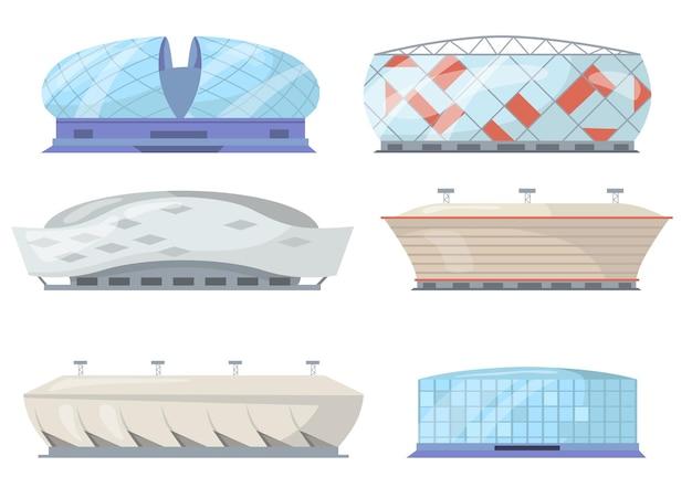 Vista frontale del set piatto di stadi sportivi Vettore gratuito