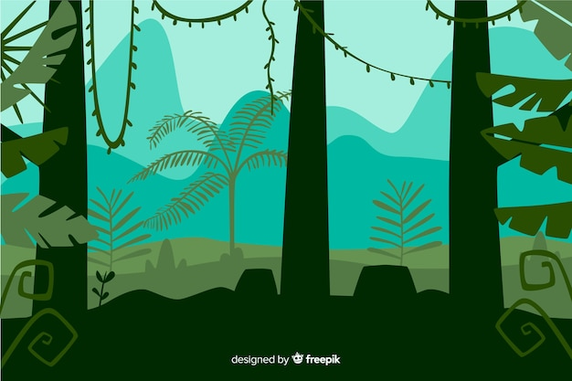 Front view of tropical forest trees landscape Free Vector