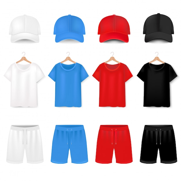 Front views of t-shirt and baseball cap and short on white Premium Vector