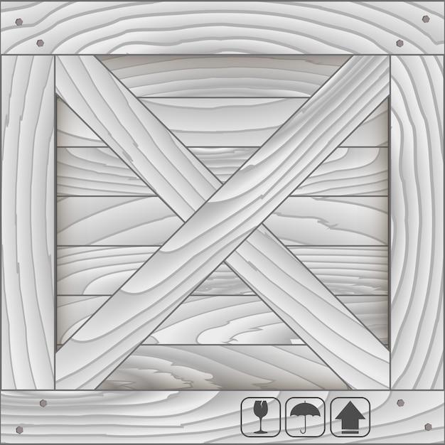 Front wood box and fragile symbol Premium Vector