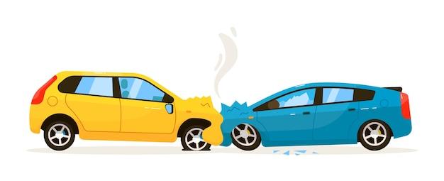 Лобовое столкновение автомобиля. неисправная ситуация на иллюстрации дорожного движения. фронтальное столкновение автомобиля с травмой бампера на белом фоне Premium векторы