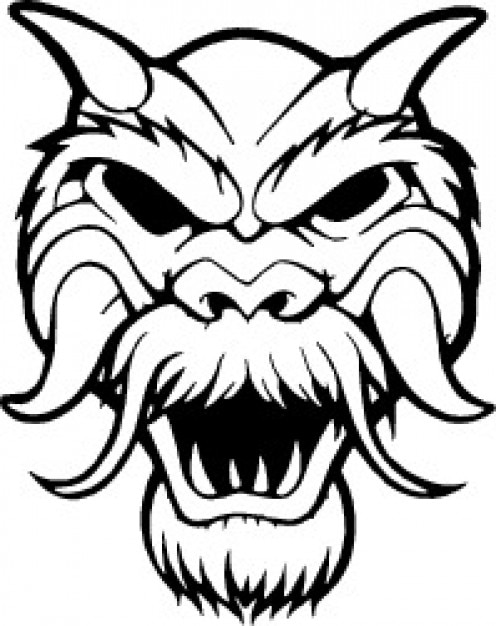 Frontal hairy mask with horns Free Vector