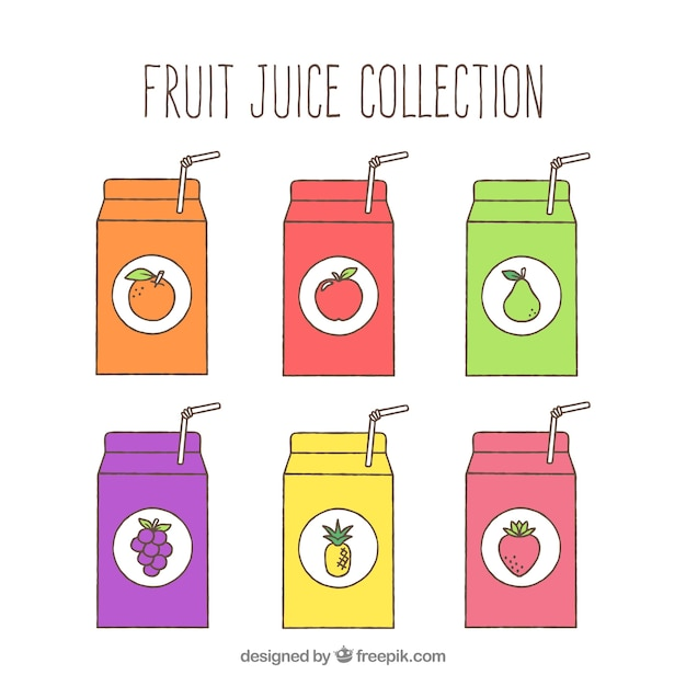 Frontal view of six fruit juice containers Free Vector