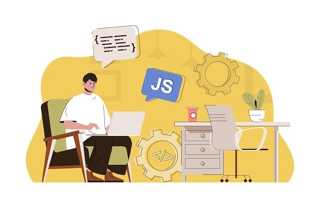 Frontend developer concept man creates web page javascript programming