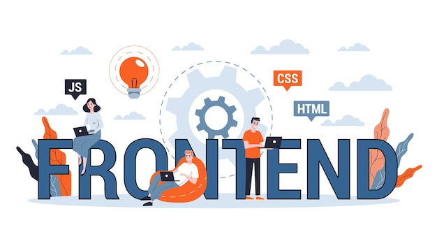 フロントエンド開発webバナーのコンセプト。ウェブサイトのインターフェースの改善。図 Premiumベクター