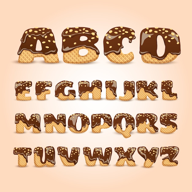 Frosted chocolate wafers alphabet letters set Free Vector