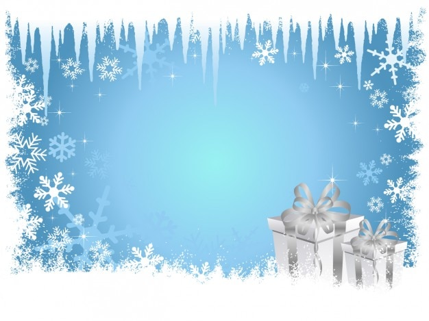 Frozen blue christmas background Free Vector