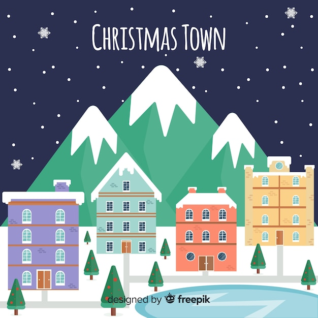 Frozen lake town christmas background Free Vector