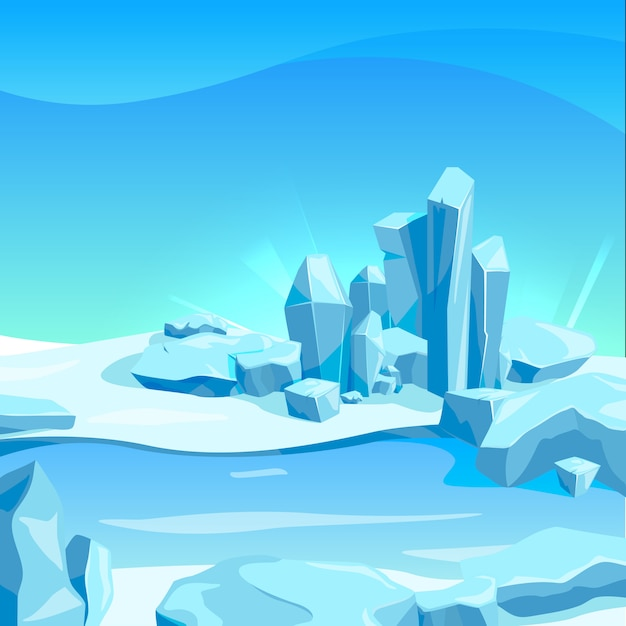 Frozen landscape with ice rocks. cartoon background vector illustration Premium Vector