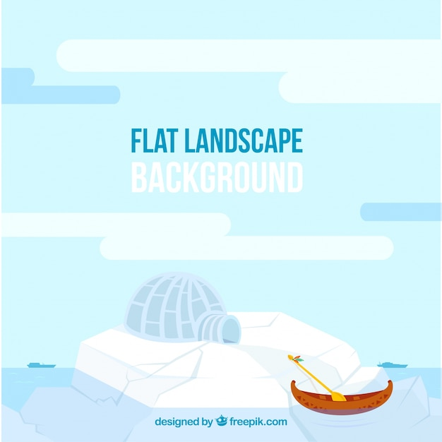Frozen landscape with an igloo Free Vector