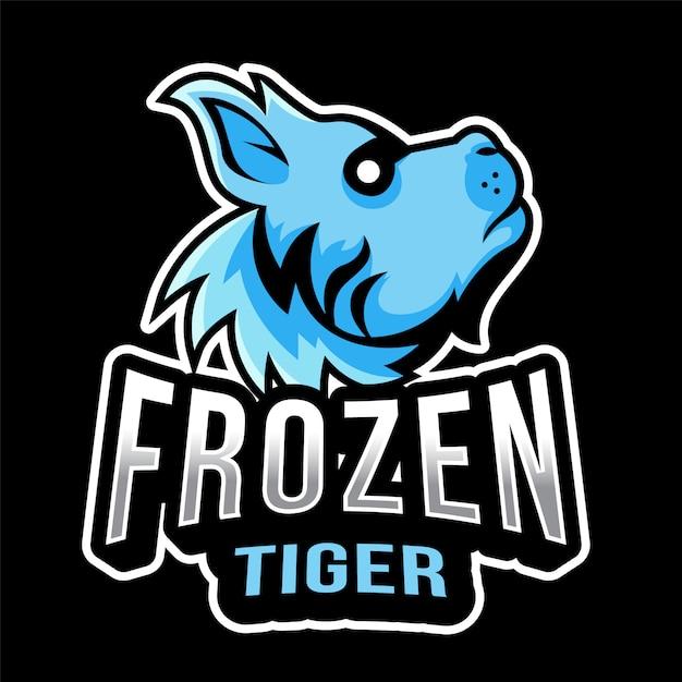Frozen tiger esportのロゴのテンプレート Premiumベクター