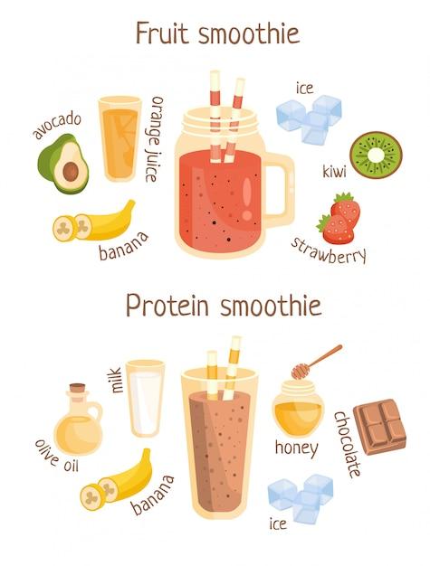 Плакат с фруктами и белком Premium векторы