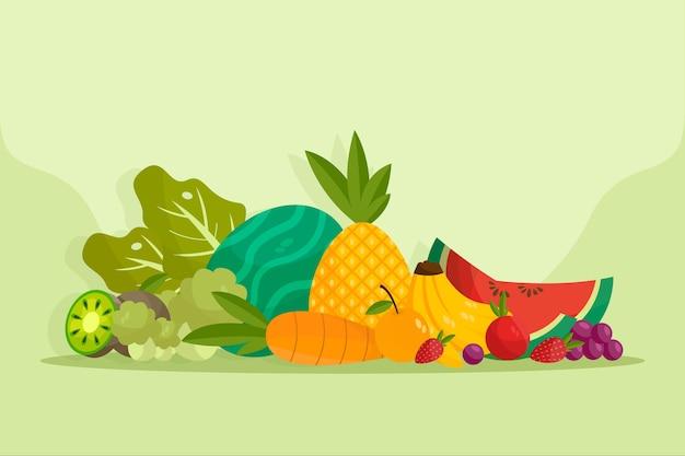 Фрукты и овощи фон концепция Бесплатные векторы