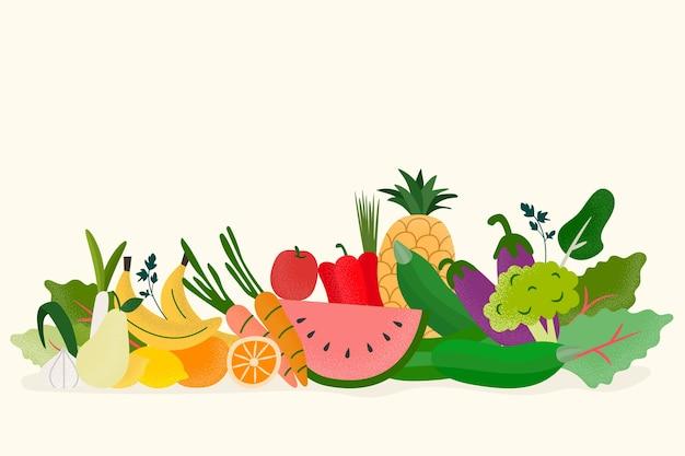 果物と野菜の背景 無料ベクター