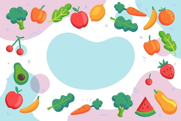 Фрукты и овощи фон Premium векторы