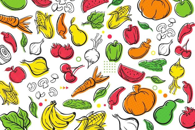 Фрукты и овощи полутоновый фон Бесплатные векторы