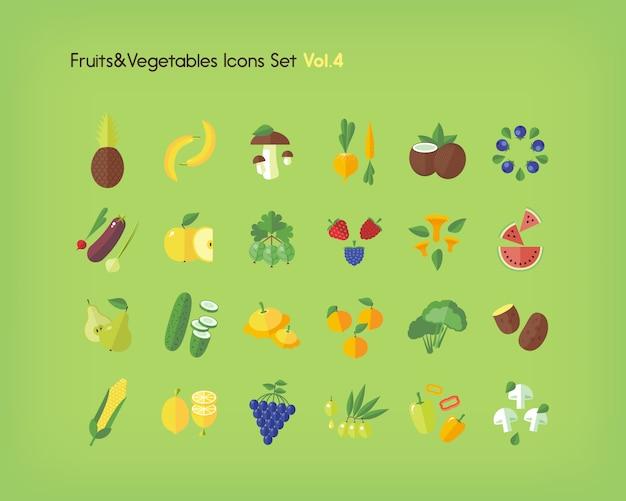 果物や野菜のアイコンを設定します。図。 Premiumベクター