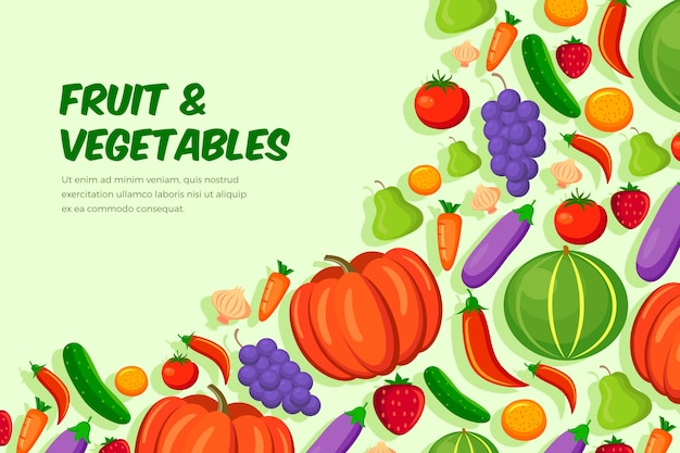 Фрукты и овощи обои Бесплатные векторы