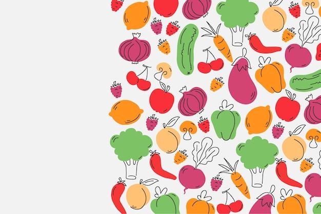 Фрукты и овощи копируют космический фон Бесплатные векторы
