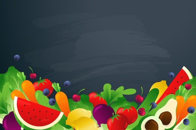 Фрукты и овощи на темном фоне копией пространства Бесплатные векторы