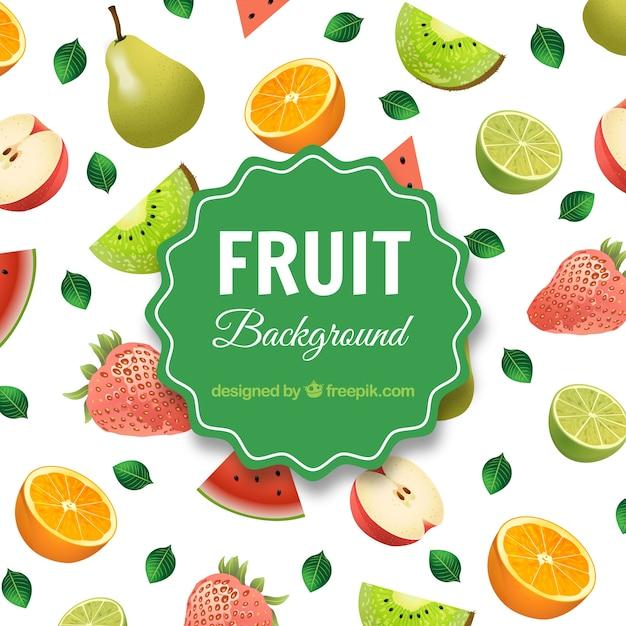 Fruit assortment background Free Vector
