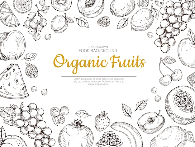 Fruit background. farmer eco fruits and berries vintage sketch healthy food  poster Premium Vector