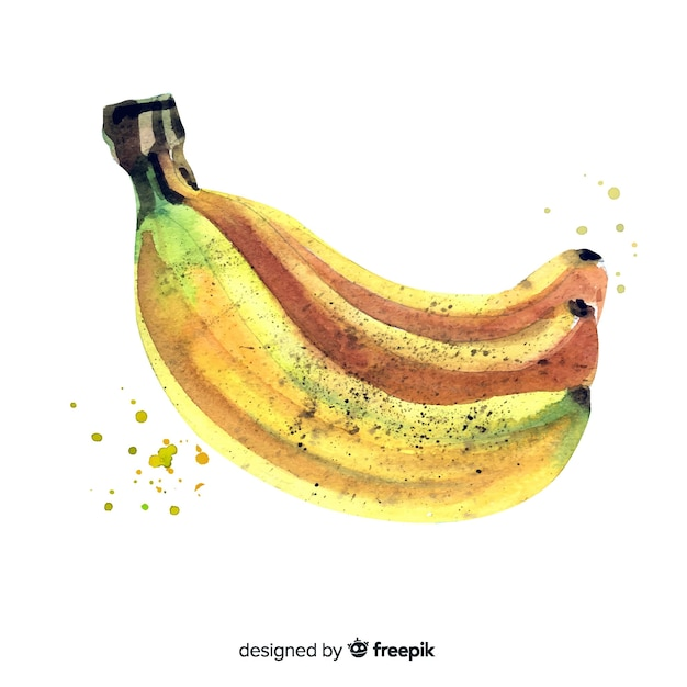 Fruit background with watercolor banana Free Vector