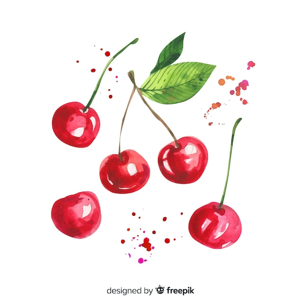 Fruit background with watercolor cherry Free Vector
