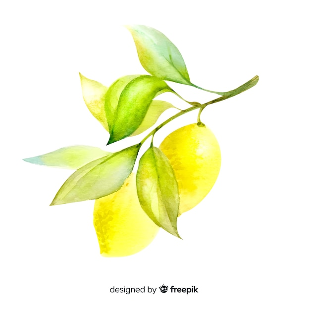 Fruit background with watercolor lemon Free Vector