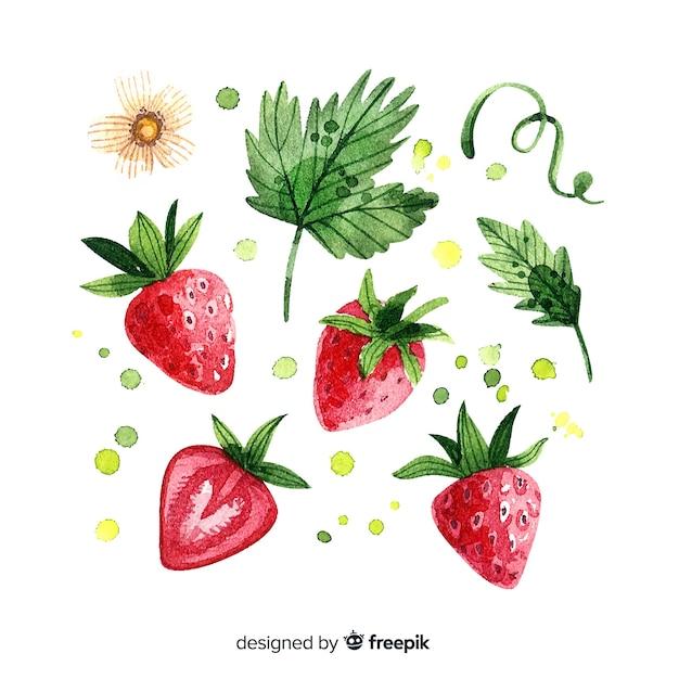 水彩のイチゴとフルーツの背景 無料ベクター