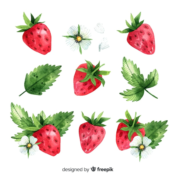 Fruit background with watercolor strawberry Free Vector