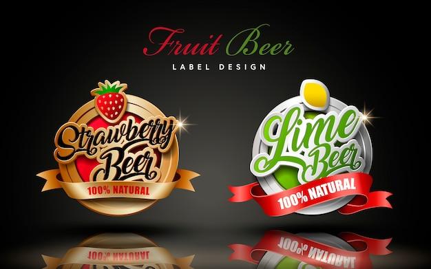 Fruit beer label design illustration Premium Vector