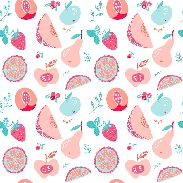 Fruit and berry tea seamless pattern. Premium Vector