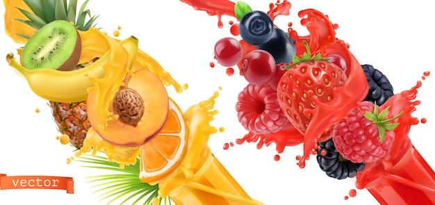 フルーツバースト。ジュースのスプラッシュ。甘いトロピカルフルーツとミックスフォレストベリー。 Premiumベクター