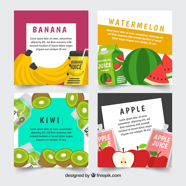 Fruit card collection with flat design Free Vector