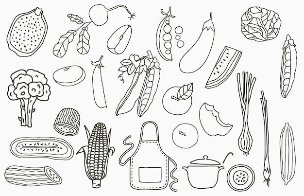 アップル、タマネギ、レモン、キュウリとフルーツコレクションのロゴ。アイコン、ロゴ、ステッカー、印刷可能なタトゥーのベクトル図 Premiumベクター
