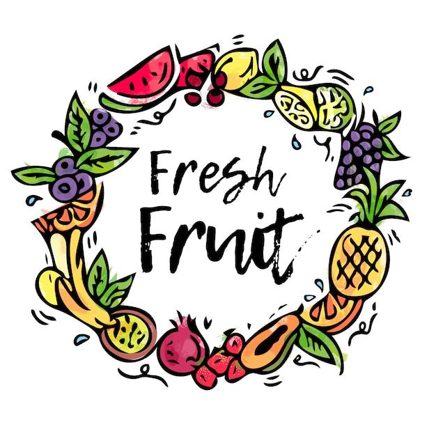 Fruit composition painted collection. Premium Vector