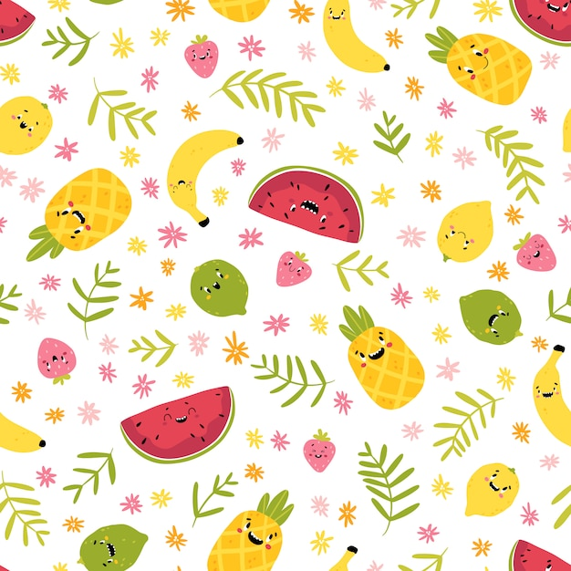 Premium Vector Fruit Creative Seamless Pattern Funny Tropical Characters With Happy Faces In Flowers And Palm Leaves Cartoon In Hand Drawn Scandinavian Style Watermelon Pineapple Lemon Lime Strawberry