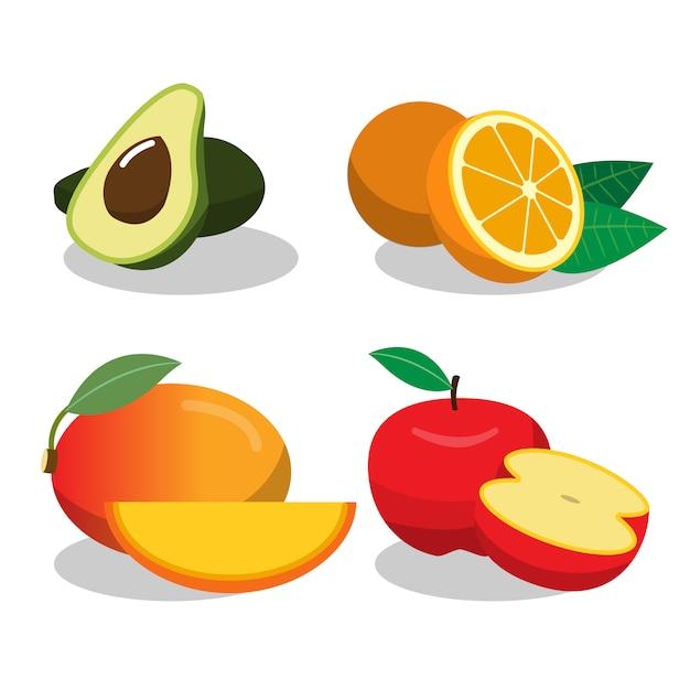 Raccolta di design di frutta Vettore gratuito