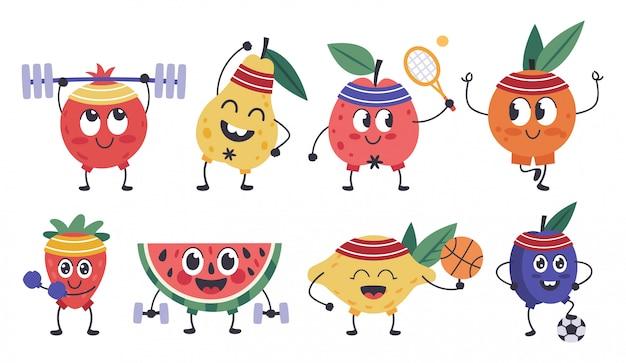 과일 피트니스 캐릭터. 낙서 과일 마스코트는 스포츠, 재미 있은 사과, 레몬 운동, 건강 운동 및 명상 아이콘을 설정합니다. 과일 음식, 배, 레몬, 파인애플 익은 프리미엄 벡터