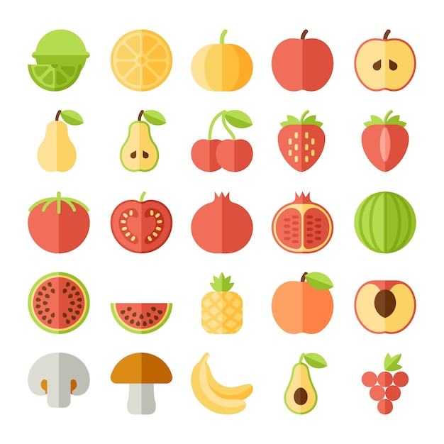 Fruit flat icon set Premium Vector