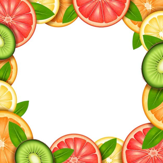 Fruit frame with sliced orange kiwi lemon and grapefruit border Free Vector