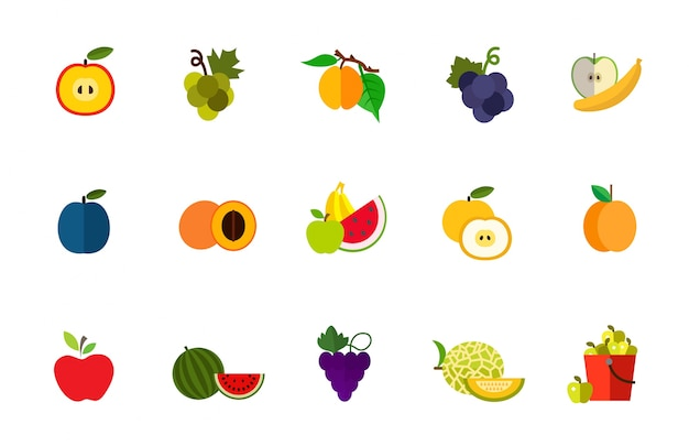 Fruit harvest icon set Free Vector