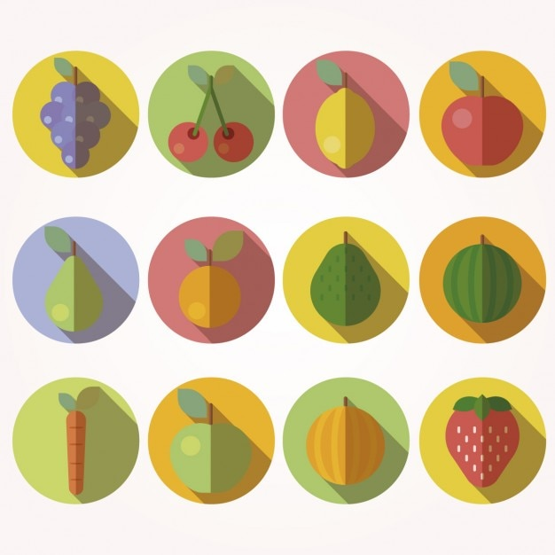 Fruit icons in flat design style