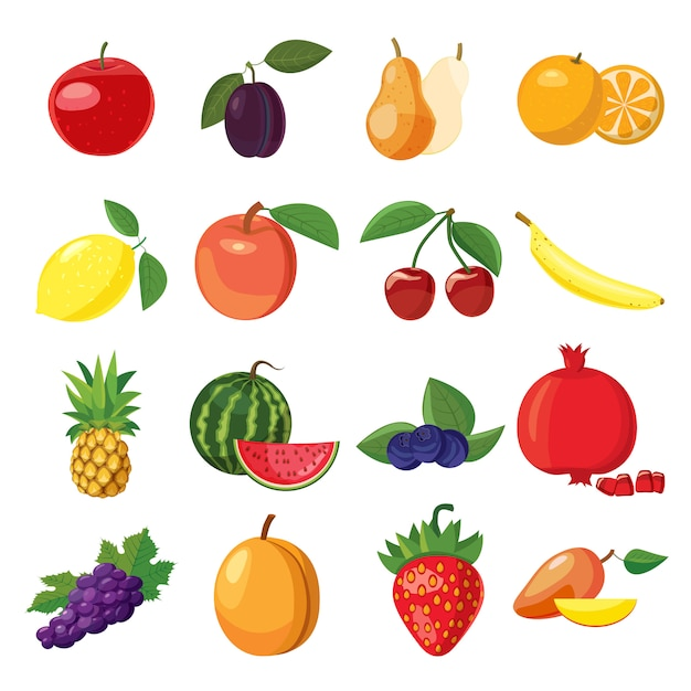 Fruit icons set in cartoon style on a white background Premium Vector