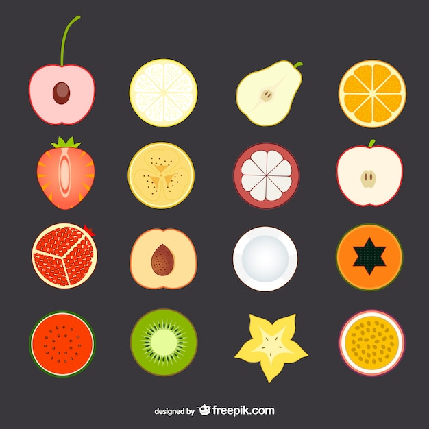 Fruit icons set  Free Vector